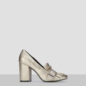 Kenneth Cole metallic loafer heel